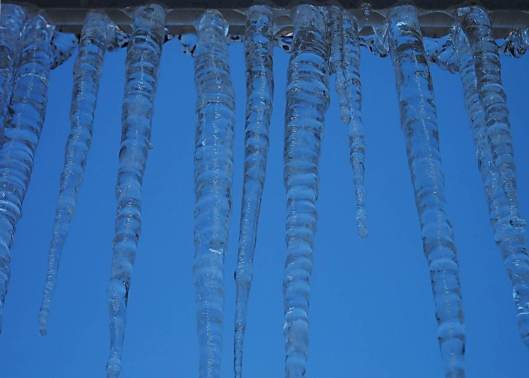 icicles and blue skies