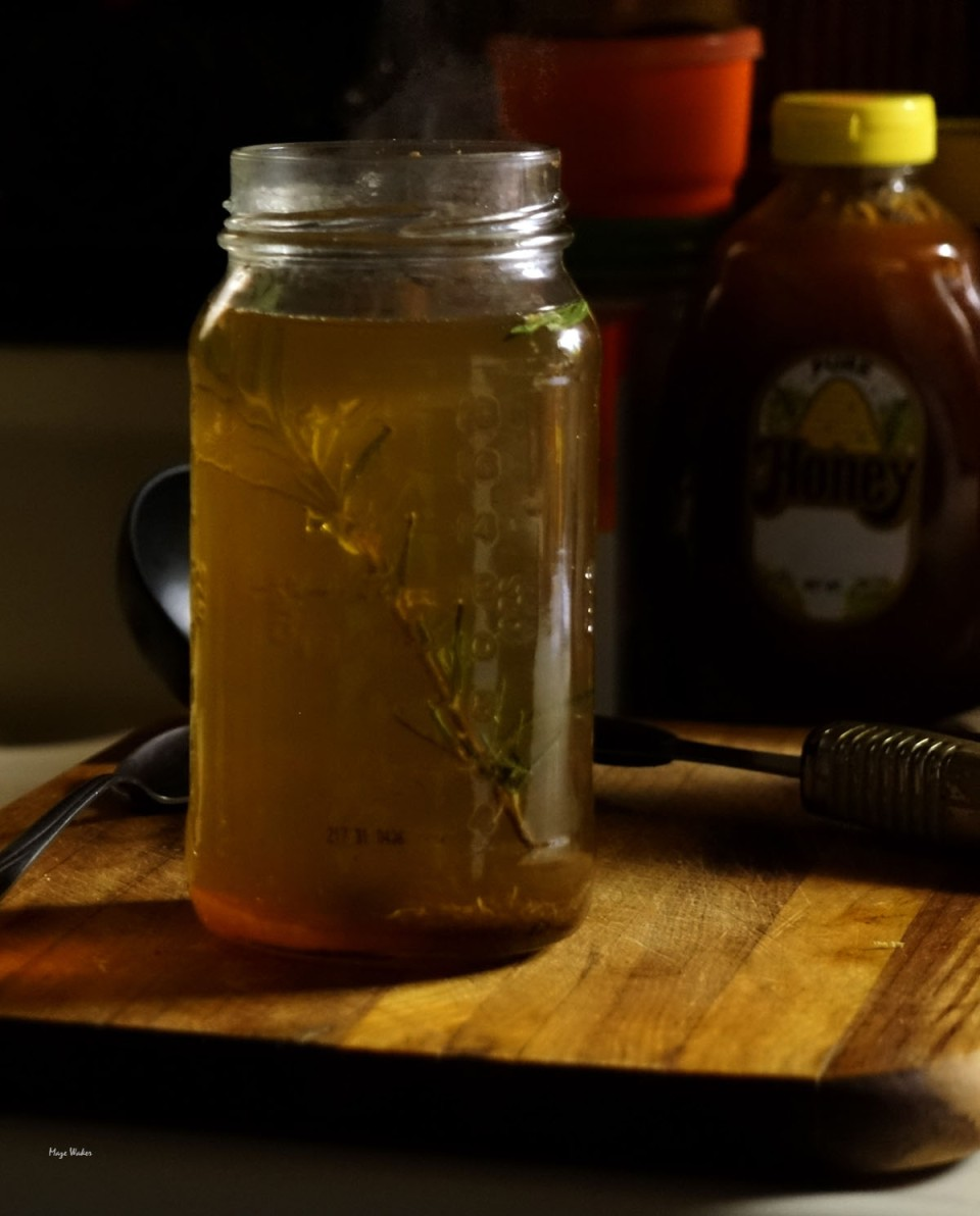 Image of Hot Toddy with Rosemary in a Mason Jar